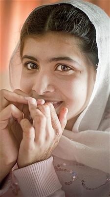 15 year old Malala Yousafzai, of Pakistan. World famous for defying the Taliban in support of women's rights and education.Nobel Peace 20014