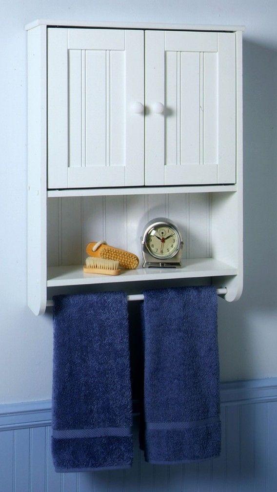 Fabelhafte Navy Blau Handtuch Und Schlankes Metall Leiste Mit Weissen Holz Badezimmer Wand Schrank Bathroom Wall Cabinets Small Bathroom Cabinets Wall Cabinet