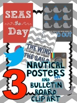 """3 nautical posters and three additional graphics for bulletin boards such as a pirate twitter.  Im using the pirate twitter for my """"Exit Tweet"""" bulletin board!"""
