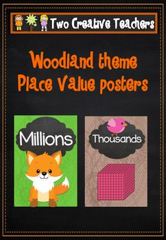 Two Creative Teachers - Place Value Posters Woodland ThemeThis product contains place value posters up to millions. These posters can be used to highlight the names of the number values as well as their order. Numbers can also be placed under the appropriate headings or use these posters for display purposes. #placevalue #classroomdisplays #twocreativeteachersIf you would like a custom order please contact us at twocreativeteachers@gmail.com.