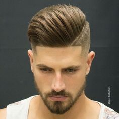 Undercut, pompadour swept to side