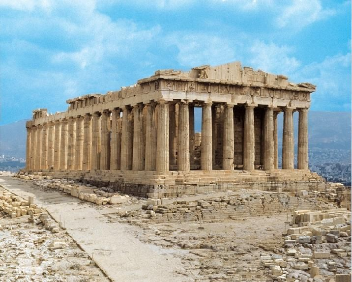 El Partenón (S. V a.C). Templo de orden dórico dedicado a la diosa Atenea. Se encuentra en le acropolis de Atenas, es de estilo clásico y sus autores son Fidias, Calícrates e Ictino. Construido con mármol. Es de planta rectangular y esta situado hacia el este.