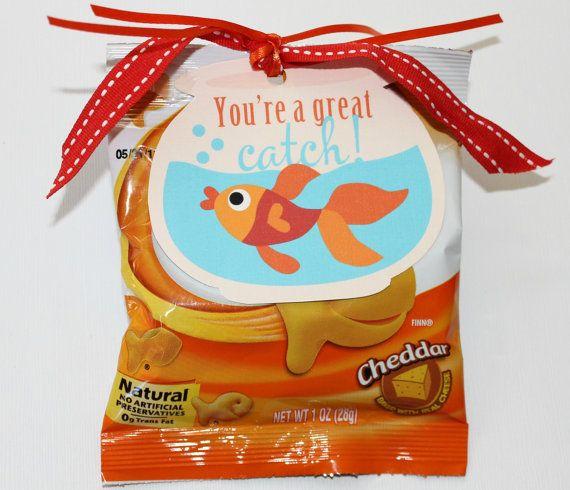 Goldfish Snacks Valentine Printable Tag.