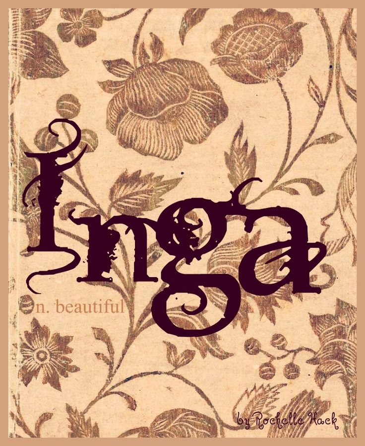 "Baby Girl Name: Inga. Meaning: Beautiful; also meaning ""Protected by Ing"" who was god of fertility and peace in Norse mythology. Origin: Scandinavian; Danish; Swedish; Polish; Ukrainian. http://www.pinterest.com/vintagedaydream/baby-names/"