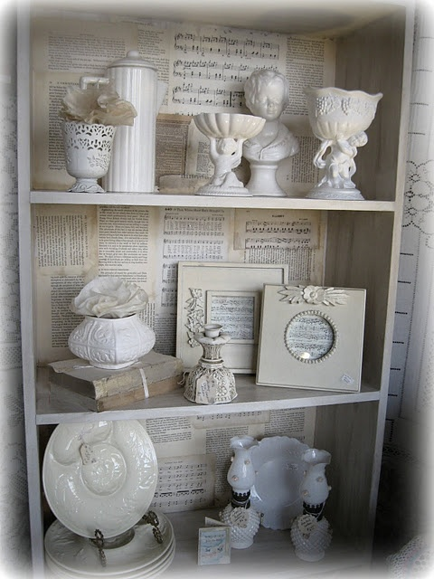 Pretty up the back of your shelves with paper - cute idea for the back of any shelfs!  Did you see this one Taryn?