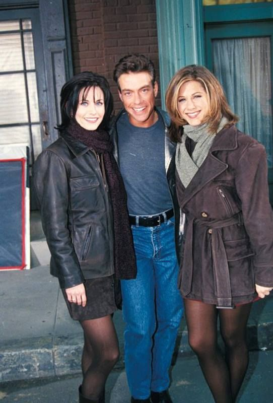 Courteney Cox and Jennifer Aniston with Jean-Claude Can Damme.