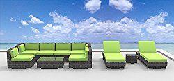 Urban Furnishing.net – IBIZA 10pc Modern Outdoor Backyard Wicker Rattan Patio Furniture Sofa Sectional Couch Set – Lime Green