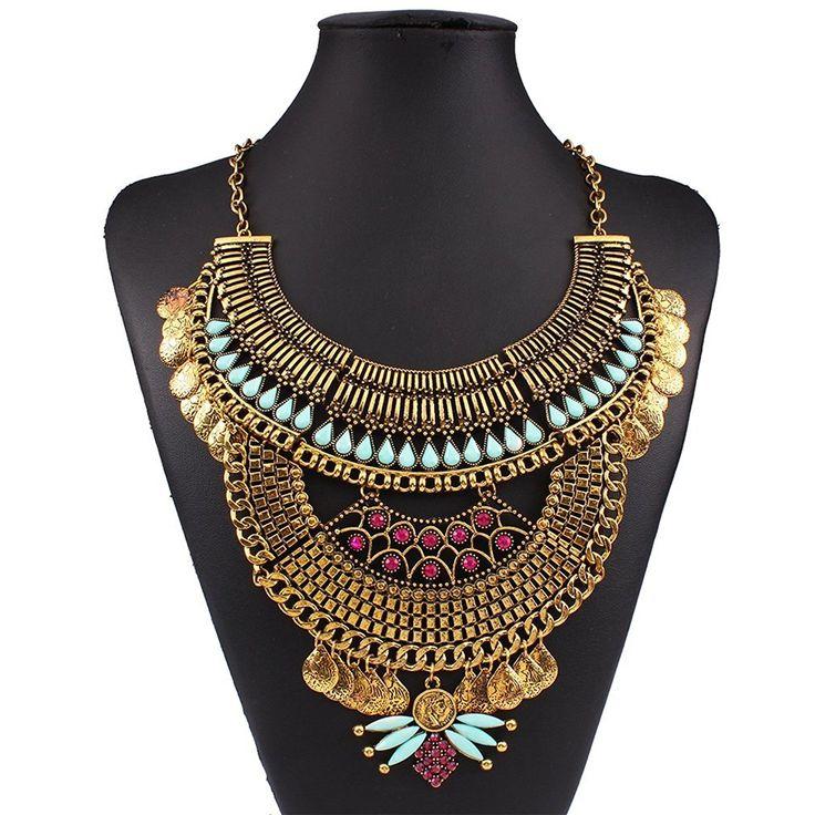 YAZILIND ethnische Art Resin Strass Bib Statement Choker Goldkragen-Halskette für Frauen Schmuck-Geschenk: Amazon.de: Schmuck