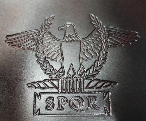 Leather arm guard, tooled leather, Roman eagle and SPQR in tabula ansata