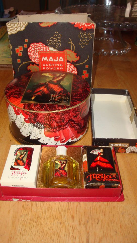 RARE VINTAGE LOT MAJA MYRURGIA SPAIN DUSTING POWDER SOAP COLOGNE PERFUME #JABON