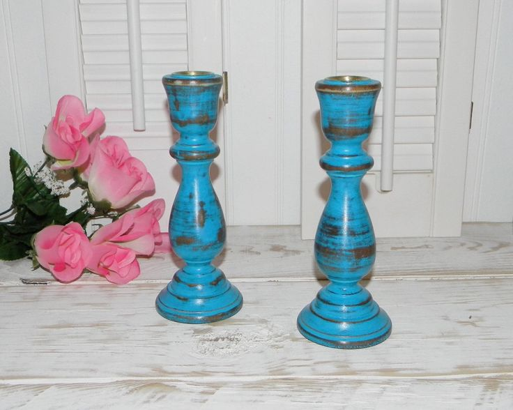 Turquoise Candle holders Set Wood Candlesticks CLEARANCE SALE by HensNestTreasures on Etsy https://www.etsy.com/uk/listing/182379367/turquoise-candle-holders-set-wood
