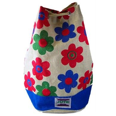 Jute Hip and Trendy Duffle Bags   Hip Angels We are particularly proud of our Hip & Trendy Duffle Bags. Tough and robust but such cool colourful designs. Thick cotton rope secured with metal eyelets - this is built to last. Sold in mixed outers of six.  Two pattern selections and two plain ones.  #Wholesaler_Bags #Wholesale_Bag #Bag_Wholesale #Bags_Wholesaler #Flowers_Rucksack