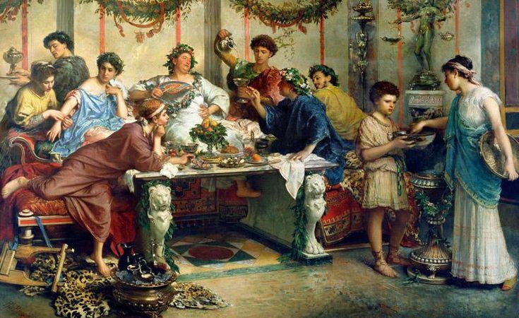 """""""Libi tibi – Marco aprì il banchetto e versò gocce di vino in onore degli Dei – Bacco consenta numerose coppe!"""" Una schiava gli pose sul capo una corona di foglie e fiori che legò con un nastro die…"""