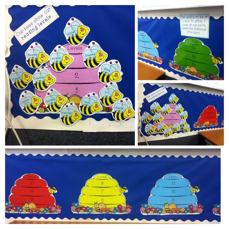 Visible learning in Reading - beehives and bees to show the kids reading levels