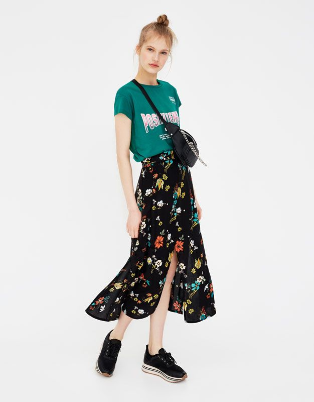 Midi Skirt With Slits Skirts Clothing Woman Pull Bear Viet Nam สไตล เส อผ า ผ หญ ง กระโปรง