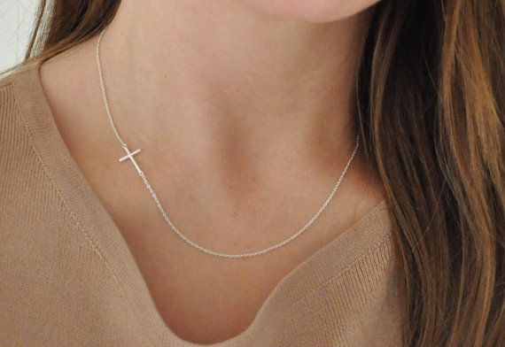 Sideways Cross Necklace Sterling Silver On The Side by NHour