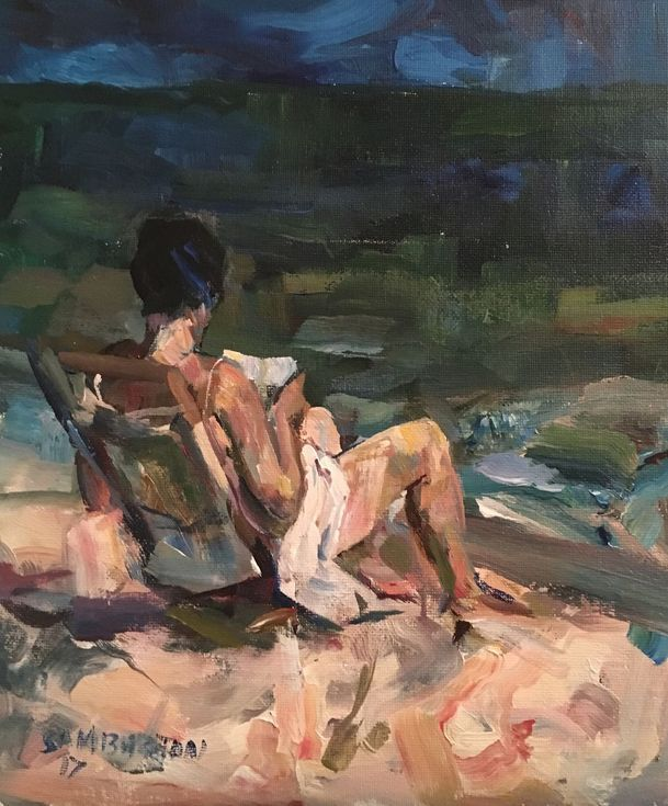 Buy Reading on the beach, Acrylic painting by Samuel Burton on Artfinder. Discover thousands of other original paintings, prints, sculptures and photography from independent artists.