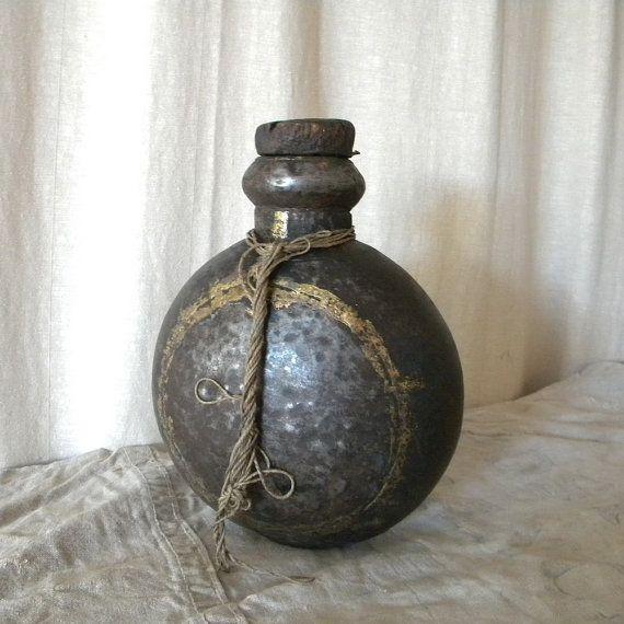 Antique French bottle rustic primitive decor by lapomme on Etsy, $89.00