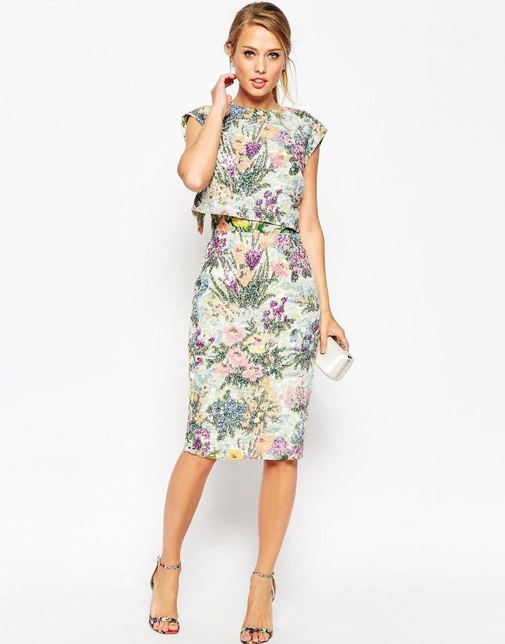 ASOS SALON Embellished Meadow Crop Top Pencil Dress