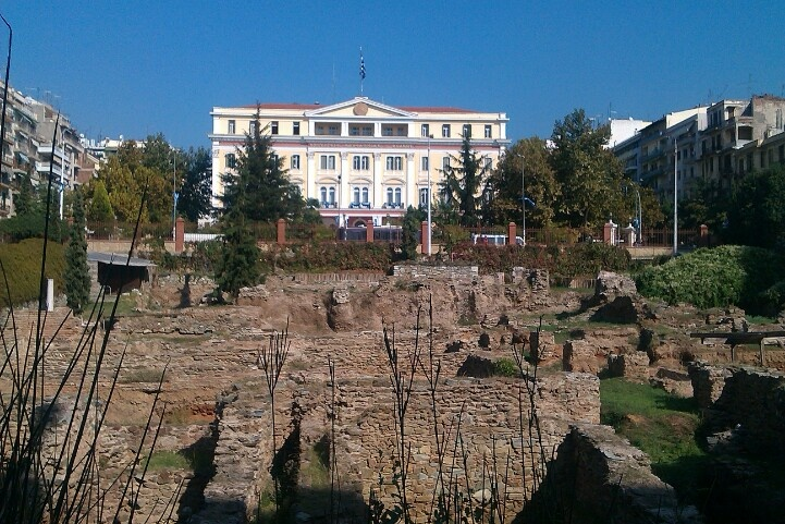 """Ministry of Macedonia-Thrace with ancient """"Agora"""" (market) infront. Thessaloniki-Greece"""