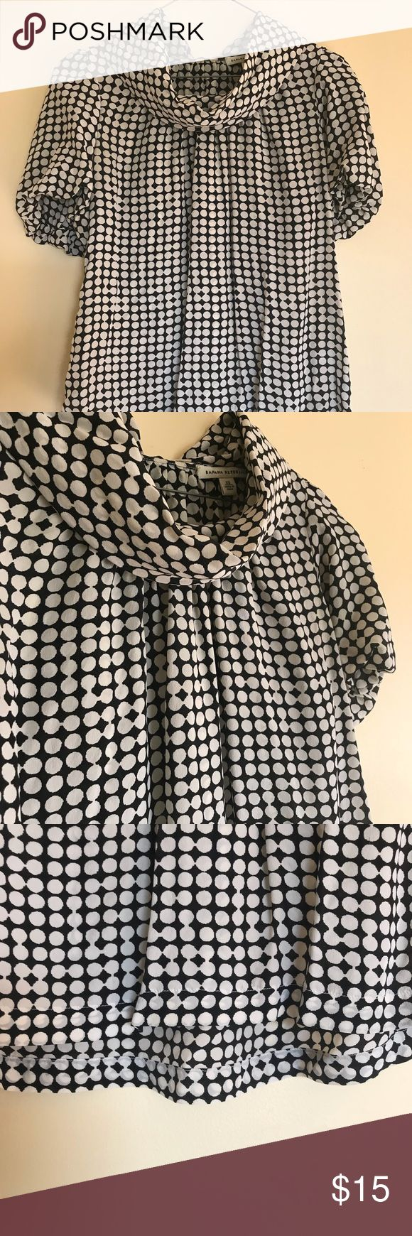 Polka dot short sleeved blouse Cute polka dot top with cowl neck. Adorable button detail on the back. Great for business casual wear. Banana Republic Tops Blouses