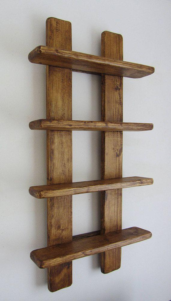 75cm high Shabby chic rustic old wood 4 tier floating shelf / trinket shelves / display shelves / spice rack