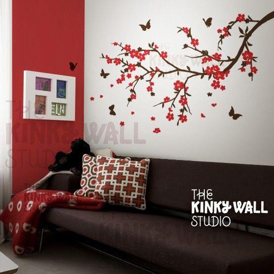 Etiqueta de la pared calcomanía árbol etiqueta flor por KinkyWall                                                                                                                                                                                 Más