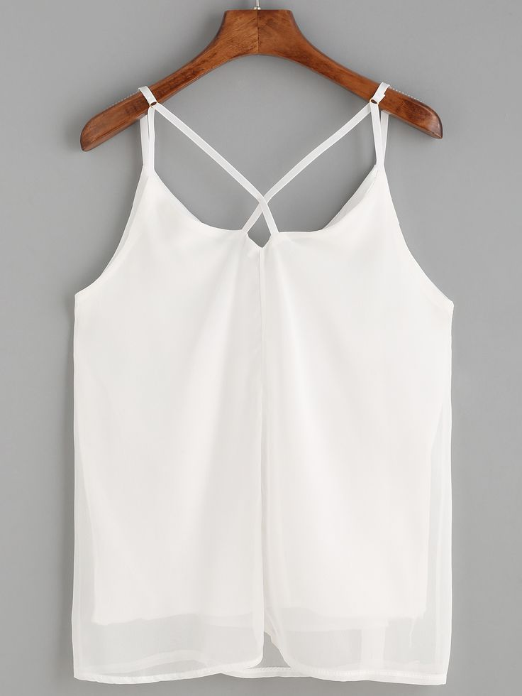 Shop White Crisscross Chiffon Cami Top online. SheIn offers White Crisscross Chiffon Cami Top & more to fit your fashionable needs.