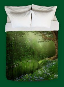 Summer Forest River King Duvet Cover woodland forest bedding forest friends bedrooms