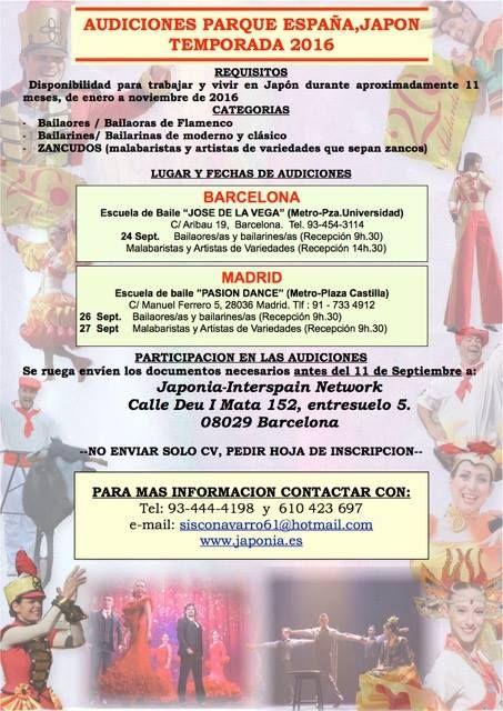 Castings bailarines y profesores de baile: Audiciones Bailarines Parque España, Japón.