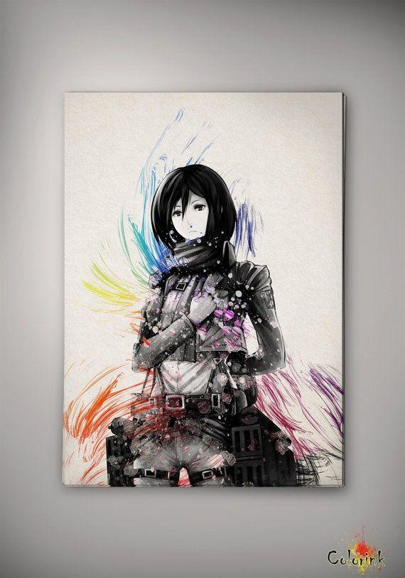 Watercolor Attack on Titan Mikasa Ackermann Print Home Decor Print Art Print Wall Decor Poster Anime Print Manga Cartoon Multi Size n24 on Etsy, $10.00