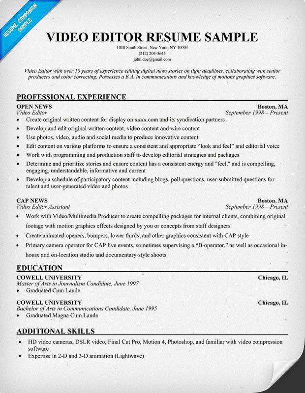 Free Video Editor Resume Example resumecompanioncom