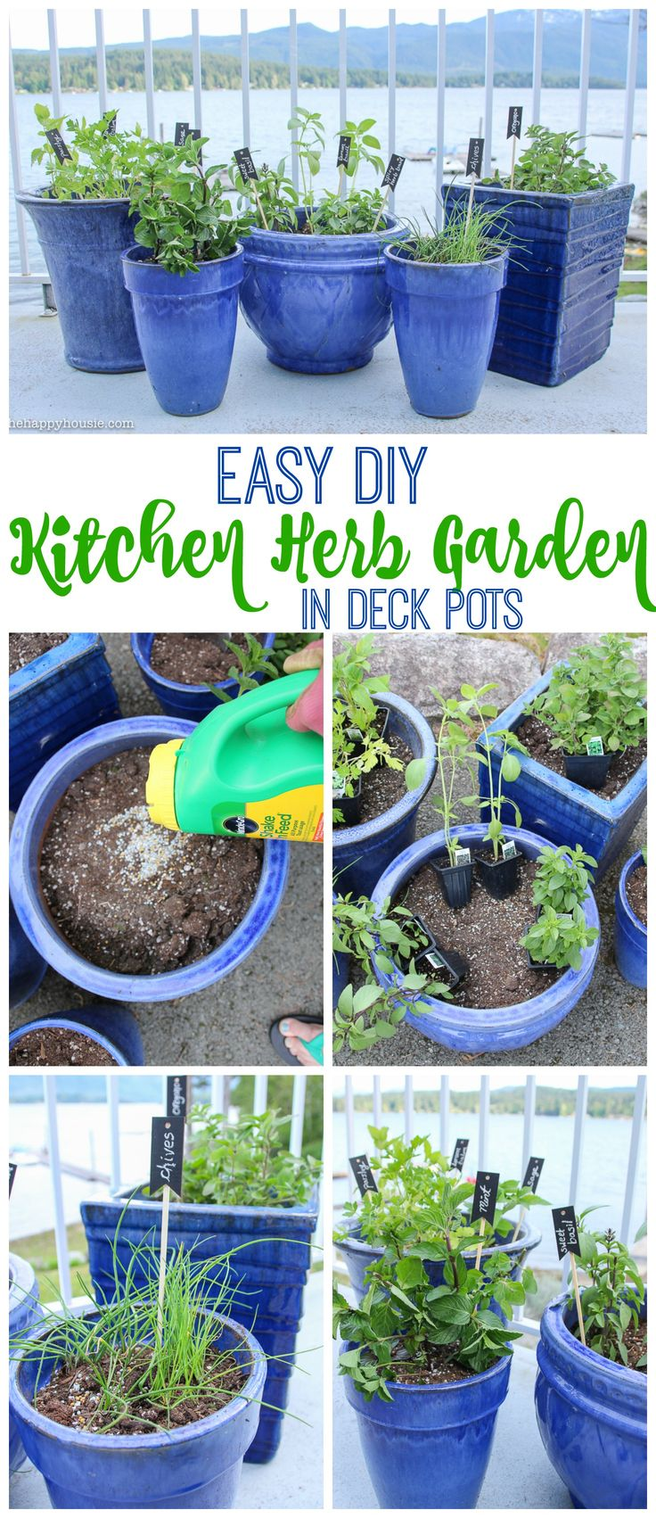 Easy DIY Kitchen Herb Garden in Deck Pots tips at the happy housie