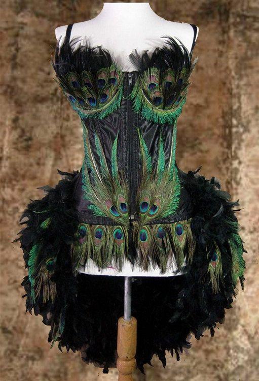 Black Custom Peacock Showgirl Saloon Girl Moulin Burlesque Rouge Costume w/Feather Train. $379.99, via Etsy.