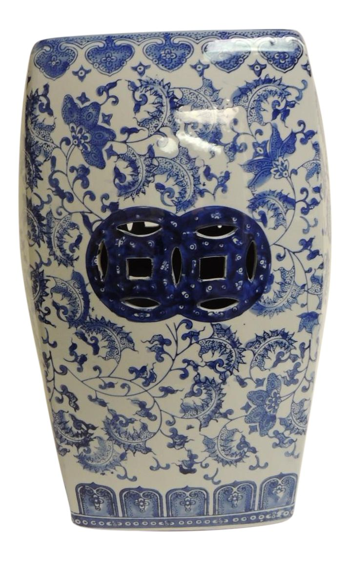 Vintage Blue Amp White Garden Stool Oriental Design And