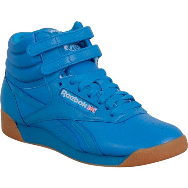 Reebok Freestyle Hi Fitness Women's High ($75) ❤ liked on Polyvore featuring shoes, sneakers, blue, reebok, reebok sneakers, hi tops, hooks shoes and ankle strap shoes