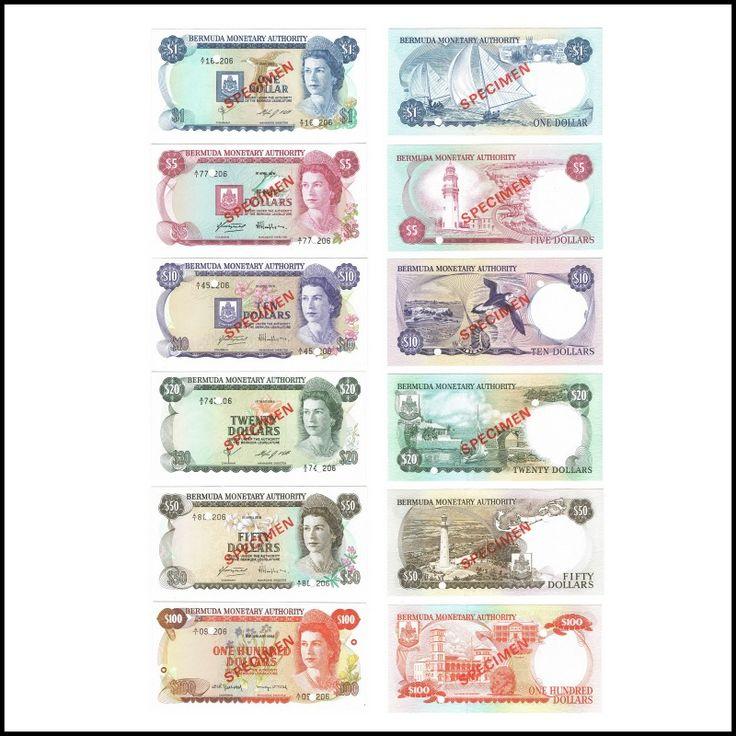 Bermuda, Specimen Set, 1 5 10 20 50 100, Dollars, 1984, 1978, 1982 Queen