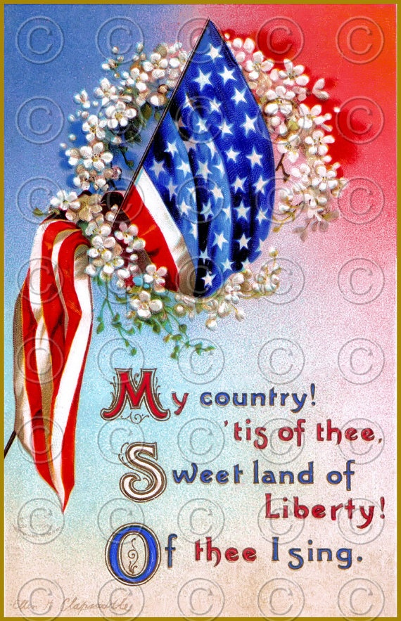 Victorian Patriotic Flag 4th of July Vintage Postcard Digital Image