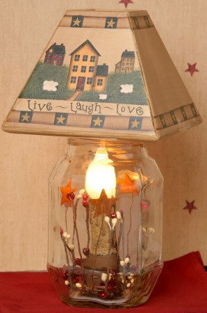 primitive lamp pictures | Primitive Mason Jar Electric Candle Lamp & Wood Lamp Shade