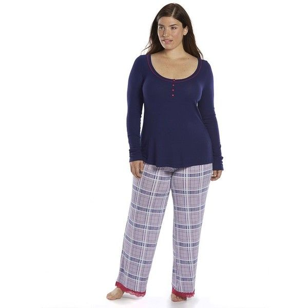 Plus Size Ten to Zen Pajamas: Ribbed Henley Pajama Set ($32) ❤ liked on Polyvore featuring plus size women's fashion, plus size clothing, plus size intimates, plus size sleepwear, plus size pajamas, indigo plaid, plus size, plus size pjs, lace two piece and plus size two piece