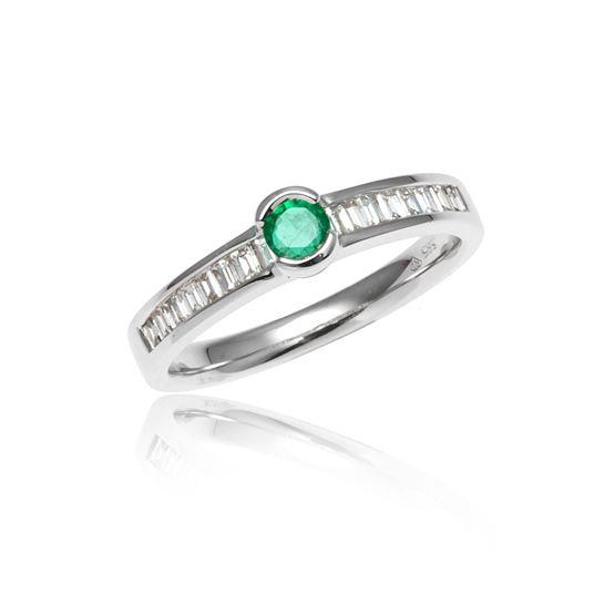 Witgouden Ring Smaragd Baguette Geslepen Diamanten