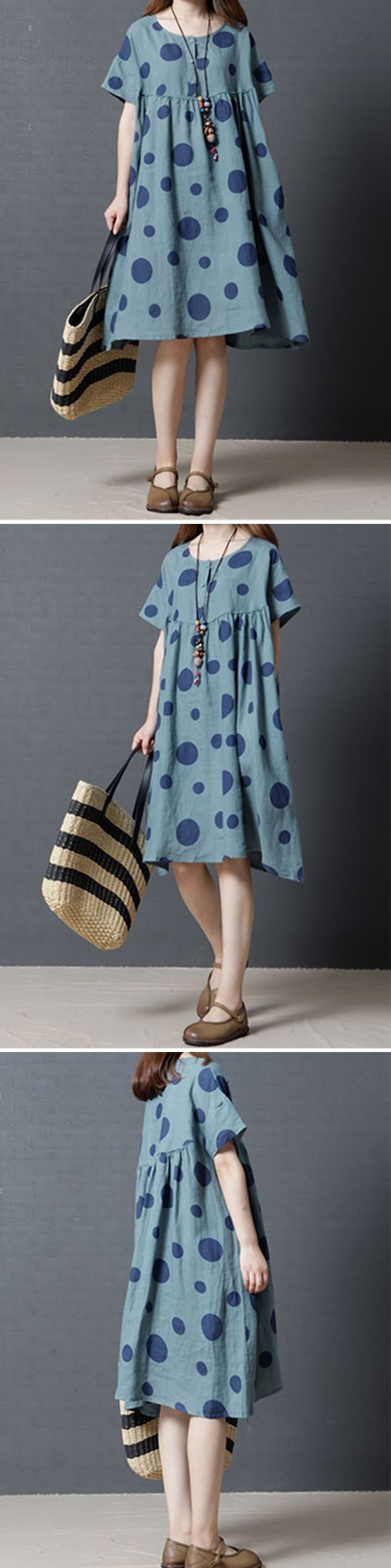 US$25.56 Vintage Women Polka Dots Short Sleeve Pocket Dresses
