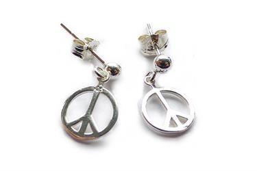 Sterling silver peace earrings