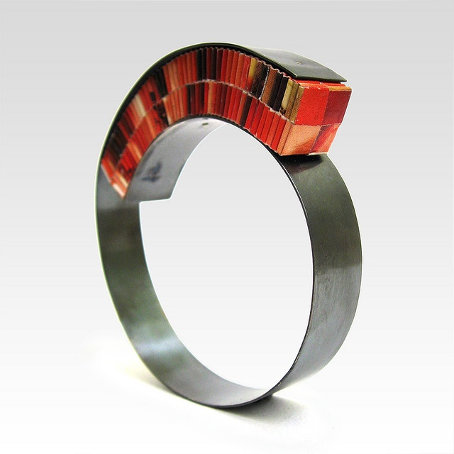 SHELLER Bracelet orange  by Francesca Vitali;  Recycled paper, sterling silver