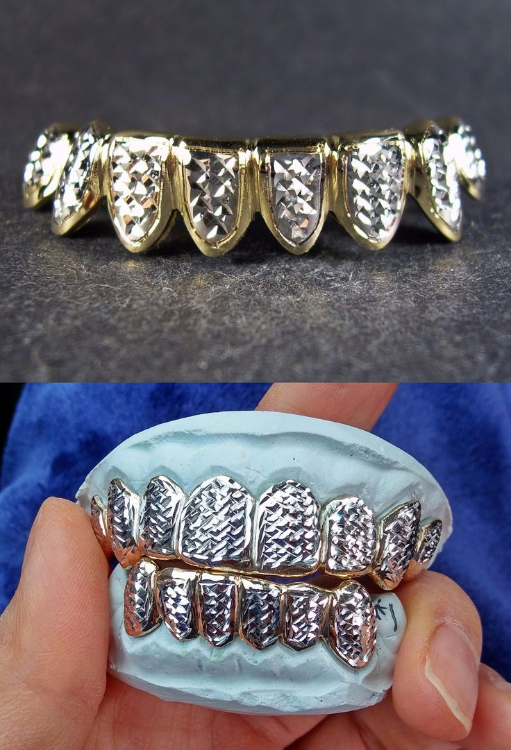 Grillz Dental Grills 152808: S. Silver 10K Or 14K Solid Gold Custom Made 2 Tone Diamond Cut Grill Grillz -> BUY IT NOW ONLY: $140 on eBay!