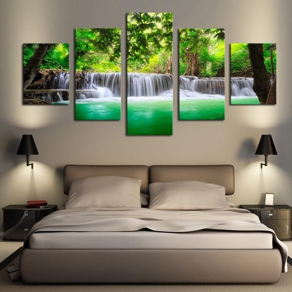 Green Waterfall - 5 Panel Canvas