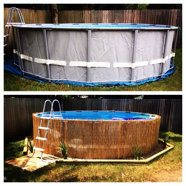 Thanks to all my pinning, our redneck oasis above ground pool is decorated ! Reed fencing from lowes, landscape timbers, pavers, river pebble rocks, and African Iris's!