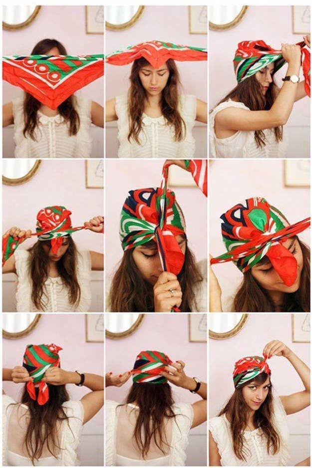 Bandana tie in hair: 26 great bandana hairstyles with instructions bandana tie instructions headscarf turban Bandana Hairstyles, Summer Hairstyles, Trendy Hairstyles, Work Hairstyles, American Hairstyles, Vintage Hairstyles, Hairstyle Ideas, Twist Headband, Diy Headband