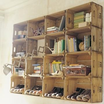 Apple crates as wall shelves -- maybe above the desk areas in the workshop space?