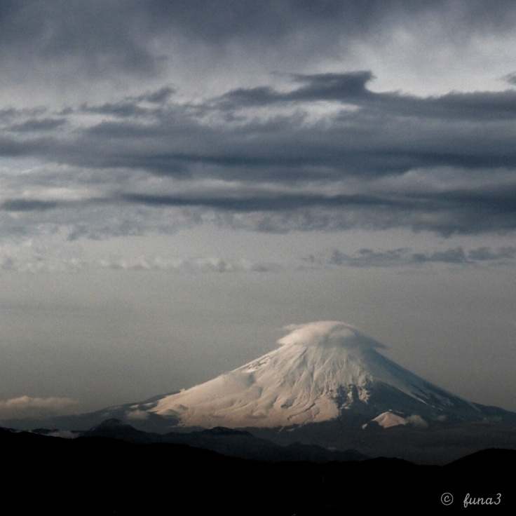 Fujiyama covered by cloud on the top